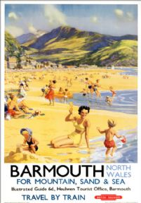 Barmouth, Gwynedd, for Mountain Sand & Sea. BR Vintage Travel Poster by Harry Riley